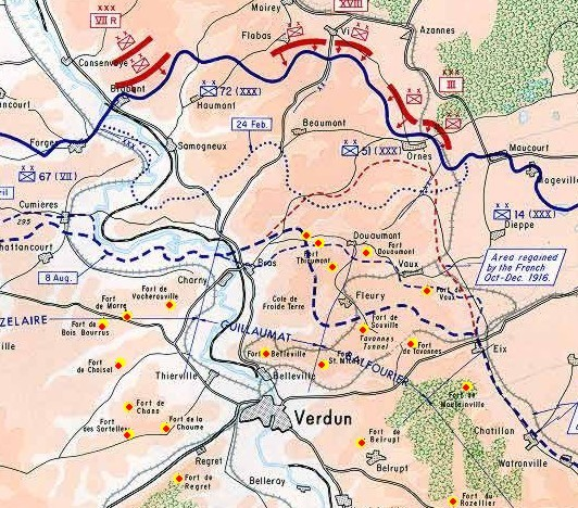 Landkarte Verdun 1wk Festungen